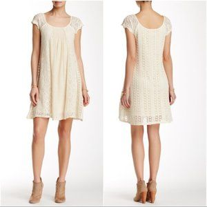Ryu Crochet & Lace Off White Cap Sleeve Dress